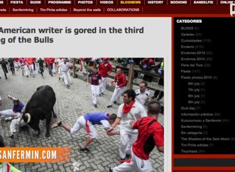 News video: Author Gored By Bull At Pamplona Says He Got Lucky